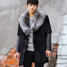 2017 Winter Men Patchwork Imitation Fox Fur Collar Faux Fur Coats Male Casual Fake Mink Fur Outerwear Plus Size 3XL 4XL W1080