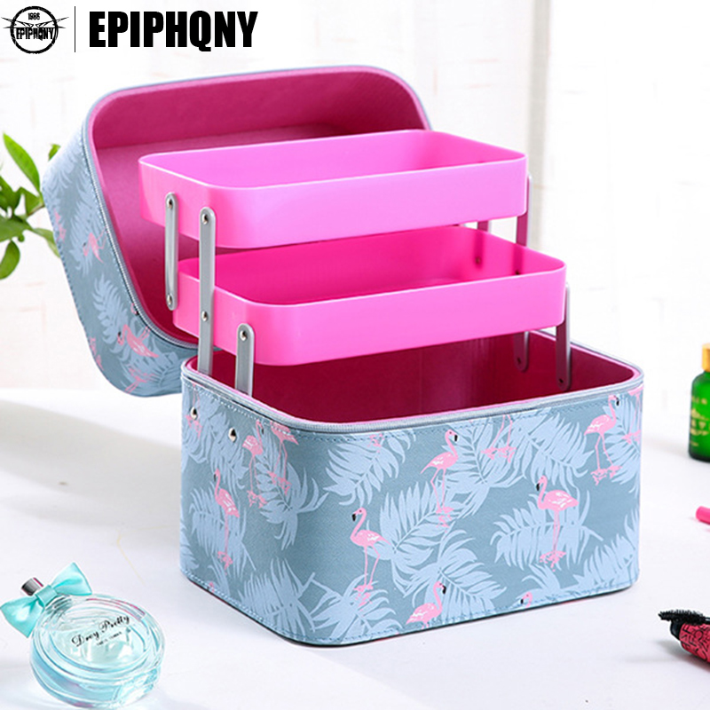 Epiphqny Brand Female Capacity Cosmetic Bag with 2 Layer Portable Functional Make Up Case Cute Pattern Printing Travel Storage<br>