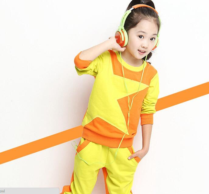 2017 Spring autumn childrens clothing pentagram spell color leisure sports suit Girls two-piece   3-12 years girl suit  kids <br><br>Aliexpress