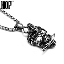 HIP Punk Casting Stainless Steel Cobra Snake Ghost Skeleton Head Skull Pendants Necklaces for Men Jewelry(China)