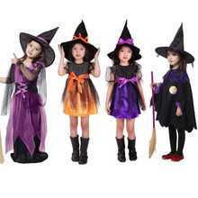 Girl Witch Dress+Hat Children's Day Costumes Princess Party Dresses Kids Children Clothing carnival halloween Cosplay Costume