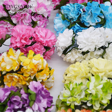 144Pcs 3cm Paper Flowers Artificial Chrysanthemum Mini Rose Flower Bouquet Scrapbooking Craft Home Wedding Party Decoration 8Z