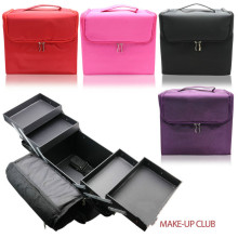 2017 Woman Nylon Makeup Bag Travel Toiletry Beauty Box with Inner Tray Multifunction Three Colors