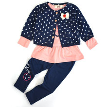 2T~5T Kids Autumn Spring New Korean Wave Point Clothing Sets Cute Cotton Baby Girl Clothes Suit Children Cartoon 3pcs Suit V49(China)