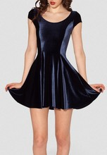 FASHION X-068 New Women Velvet Mulled Deep Blue Evil Cheerleader 2.0 Dress S M L XL Plus Size