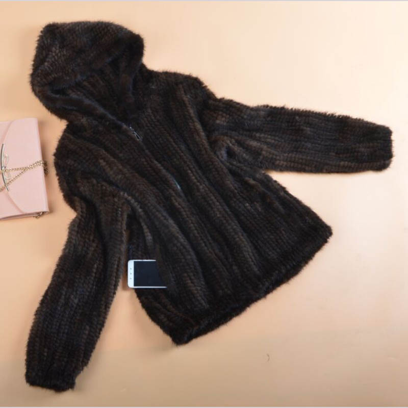 knit mink fur coat flat