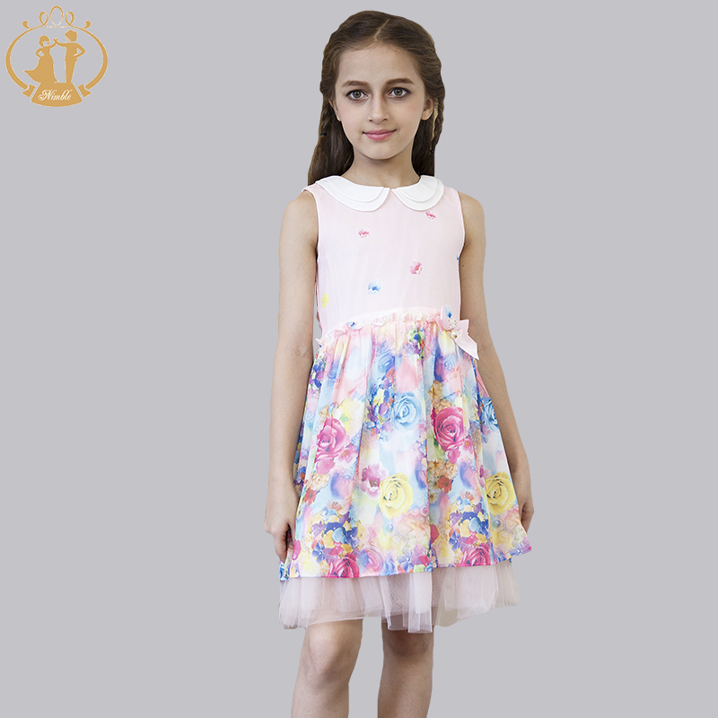 Nimble Summer Fashion Colorful Floral Girls Dress  Print Chiffon Ruched Double-layered Sleeveless <br><br>Aliexpress