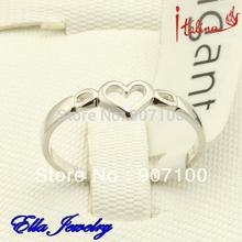 Italina Brand Women Rings Platinum Color Heart Jewelries Gift For Girls Wholesale Price Fashion Sliver Color Jewelry