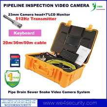 20m Cable 23mm 512Hz Transmitter Camera Pipeline Drain Sewer Snake Inspection Camera W/Monitor DVR Keyboard 8GB SD Card