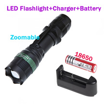800LM 3 Modes Q5 LED Flashlight Flash lamp Torch light +18650 Rechargeable battery+1* Battery Charger+2 * Plastic Tube(China)