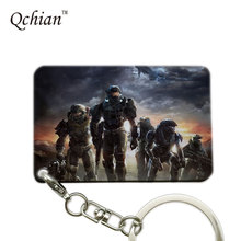 Hot Game Halo Series Classic Shooting Games Printed Car Keychain  for Man Keyring Pretty Nice Gift Pictures can be Customized