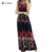 Buy 2018 Plus size Bohemian Floral Print A-Line Summer Dress O-neck sleeveless Retro sexy dress Cute slim Elegant Beach Dresses P252 for $15.42 in AliExpress store