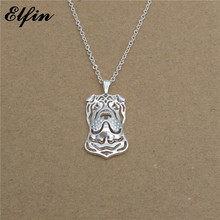 Elfin 2017 Trendy Chinese Shar Pei Necklace Gold Color Silver Color Dog Jewellery Pendant Necklace Women steampunk(China)