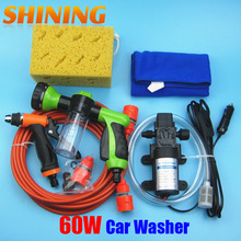 Household Self-priming Electric Car Washing Washer Machine 12V Car Washer Pump Cleaner + 8 Pattern Foam Water Gun [Package 2]