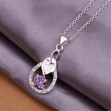 Factory direct high quality silver plated jewelry fashion charm retro purple crystal zircon leaf pendant necklace N330 Kinsle(China)
