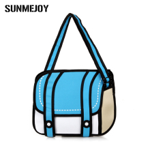 New Fashion 2D Bags Novelty Back To School Bag 3D Drawing Cartoon Paper Comic Handbag Lady Shoulder Bag Messenger 6 Color