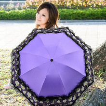 Lace Umbrellas Parasol Ladies Windproof Flower Sun Umbrella Anti Rain Women With a Lace Hand Bag(China)