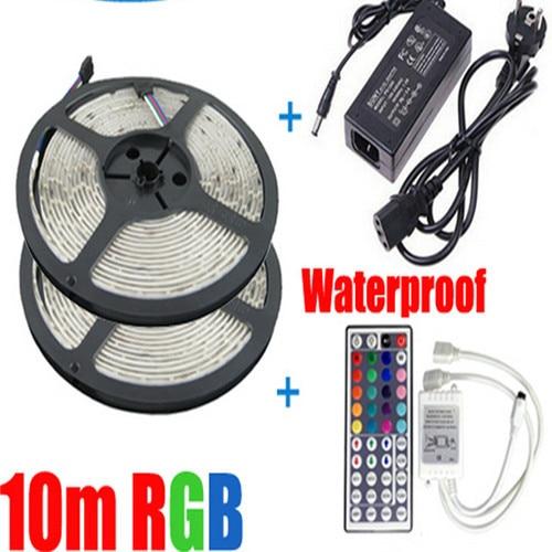 RGB  led strip 5050 waterproof/no-waterproof  2*5m smd strip lighting +44 key IR remote controller +DC12V 7A Power Adapter<br><br>Aliexpress