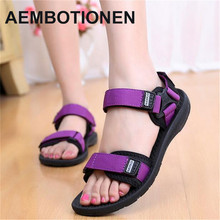 2017 Han edition antiskid female sandals sandals women summer new flat tide flat with bigger sizes students leisure beach shoes