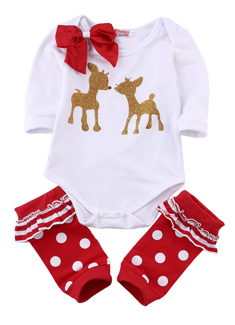 2016 New Baby Girls Clothes 0-18M Infant Toddler Kids Long Sleeve Bodysuit Romper Bow + Legging 3pcs Outfit Christmas Gift<br><br>Aliexpress