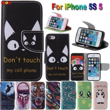 LELOZI Top Quality Cute Cartoon Print Magnetic PU Leather Cell Phone Case Cover For Apple iPhone 5S 5 5g with Wallet Card Slots(China)