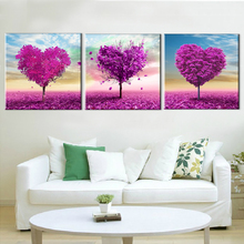 Frameless Tree Oil Painting Wall Art Landscape Canvas Art Purple Love Home Decoration Modular Pictures for Living Room 3 Panels