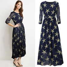 Wonderful Design New Summer women's Dress Printing Stars Chiffon breathable High Quality dresses Large Size 4xl 5xl 6xl(China)