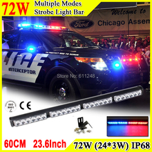 72W Super Bright Led Strobe Flash Warning Light Bar 23.6'' Led Light Bar 4x4 Offroad Flashlight Amber Red Blue Led Police Lights(China)