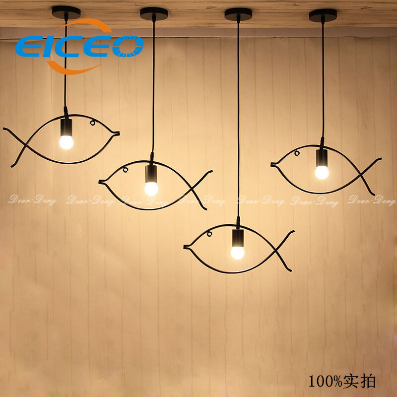 (EICEO) Creative Personality LED Pendant Lights Fish Bar Minimalist Dining Room Nordic Hanging Lamp  Droplight Style<br>