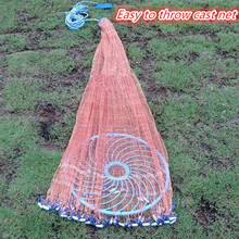 Cast Net Size 3M-7.2M American Style Fishing Net Outdoor Sports Easy Throw  Frisbee Net tire Line Rotary Fishing Network
