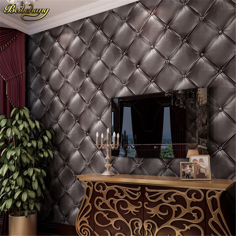 beibehang Simple European Black faux leather embossed PVC wallpaper 3D stereo soft front bed hotel wall paper<br>