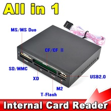 "All In 1 Internal Card Reader USB 2.0 3.5"" Floopy Bay Front Panel SDHC Micro SD MMC CF XD TF Flash Memory Card Reader"