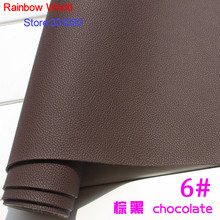 6# chocolate Micro Lychee Pattren high quality 1.2mm thick PU Leather fabric for DIY cars table bags bed material (140*50cm)