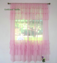 New Ruffle Desige Sheer Window Curtain For Living Room (Two Panels)(China)