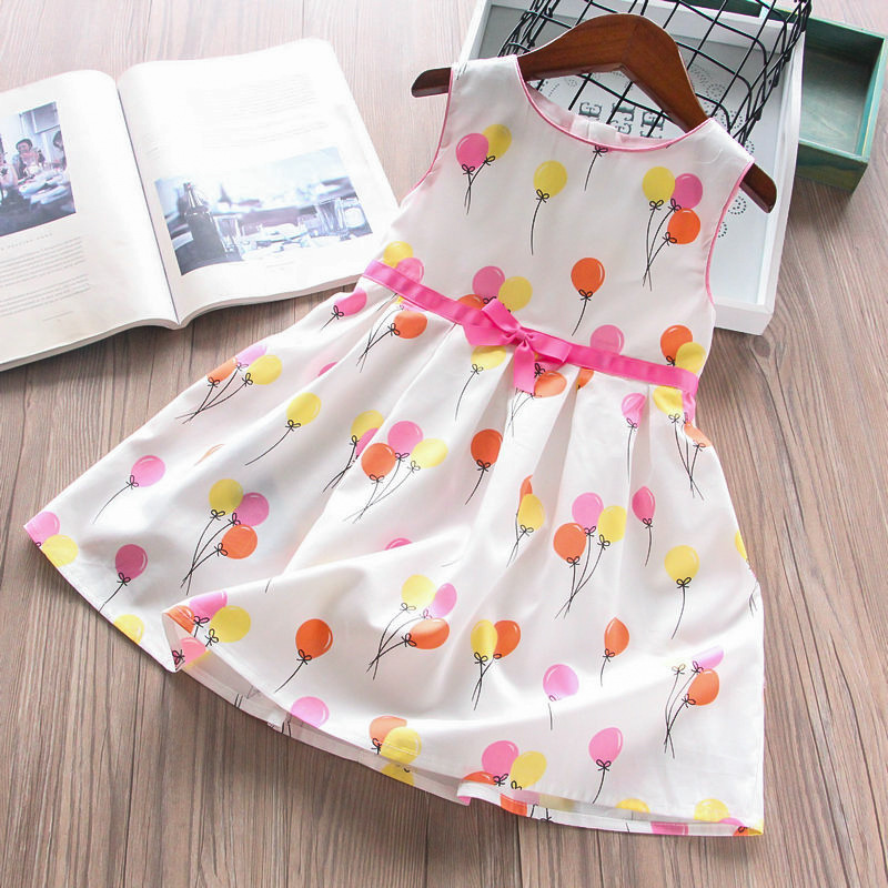 Toddler Girl Balloon Party Party Dress Cotton Kids Fashion Wholesale Lots Bulk Clothes Baby Girl Summer Princess Clothing White