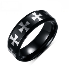 Heyrock Black IP Center Iron Cross Laser Etched Ring for Men Stainless Steel Male Jewelry