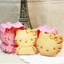hello kitty cookie mold Fondant Cake Cookie Decorating tools 2pcs/set  Plastic pink baking pastry tools D798