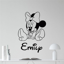 Minnie Mouse Wall Decal Girl Kids Custom Name Mickey Mouse Cartoons Vinyl Sticker Kids Room Wall Art Bedroom Wall Sticker