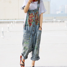 Women 2017 Leisure Loose Plus Size Denim Jumpsuits Overalls collapse Pants Ankle-length Strap Floral Print Denim Trousers(China)