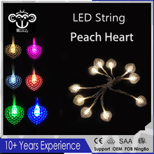 New LED Peach Heart  Battery Powered Holiday LED String Lights High quality for Christmas Tree Wedding Party Living Room Dec