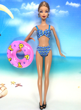 NK One Set Sexy Swimwear Beach Clothes Bikini Swimsuit+Slippers+Swimming Buoy Lifebelt Ring For Barbie Doll Best Girl' Gift 031A