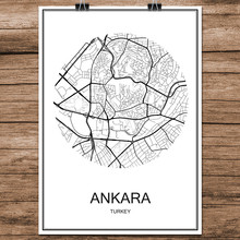 World City Street Map Ankara Turkey Print Poster Abstract Coated Paper Bar Pub Living Room Home Decoration Wall Sticker 42x30cm