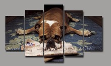 Unframed 5 Panels French Bulldog Decor poster living room cuadros modernos Canvas modular Painting Decorative Photos Dog Lovers