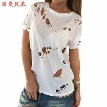 Summer Holes T Shirt Women Fashion Sexy Black White Cotton Short Sleeve Ripped Tops Shirts Casual Loose TShirts XS-XXL
