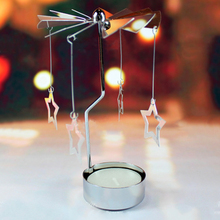 1Pcs Romantic Candle Holders Revolving Door Windmill Rotation Candlestick Candleholder Candle Tea Light Holder Holiday Decor