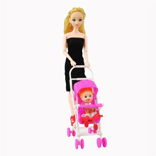 1Pcs Dolls Accessories Pink Assembly Doll Baby Stroller Trolley Nursery For Children Barbie Doll birthday gift Play House Toys(China)