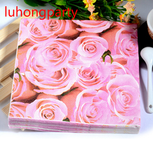 40pcs 33*33cm Rose Flower Petals Design Printed Paper Napkin Placemats for Wedding Party Decoration table decoration accessories(China)