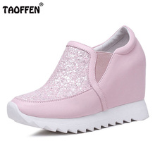 TAOFFEN Sexy Women Real Leather Inside Heel Shoes Shine Glitter High Wedges Shoes Women Party Leisure Women Footwear Size 32-39(China)