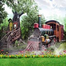 MEHOFOTO Vinyl Photography Background Locomotive Train Computer Printed Children Backdrops for Photo Studio CM-6590