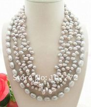 Charming! 4 strands Grey Pearl Necklace free shipment